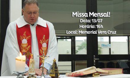 Solidariedade é o tema da missa de julho no Memorial